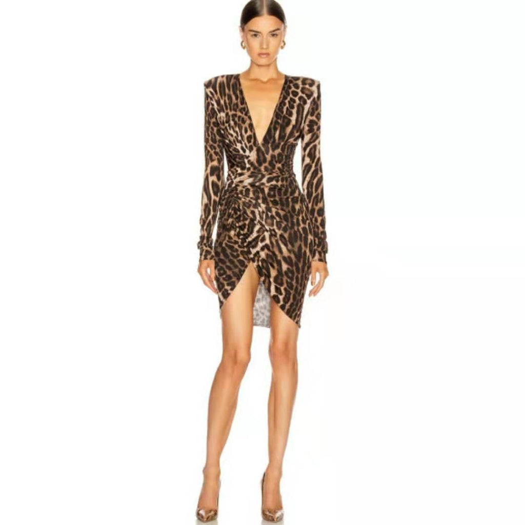 Leopard Print Plunging Ruched Mini Dress