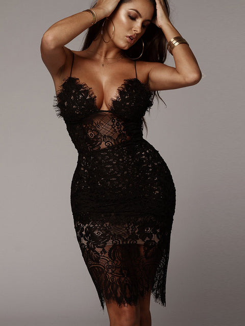 Sexy V-neck Lace See Through Midi Dress gallery 13