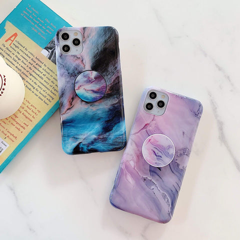 Gradient Glossy Marble Print iPhone Case with Phone Holder