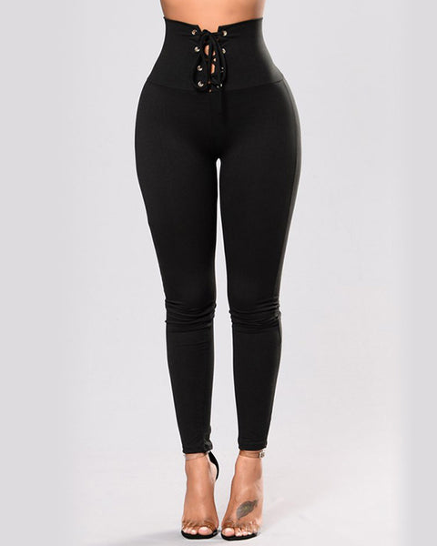 Lace Up Waistband Solid Leggings
