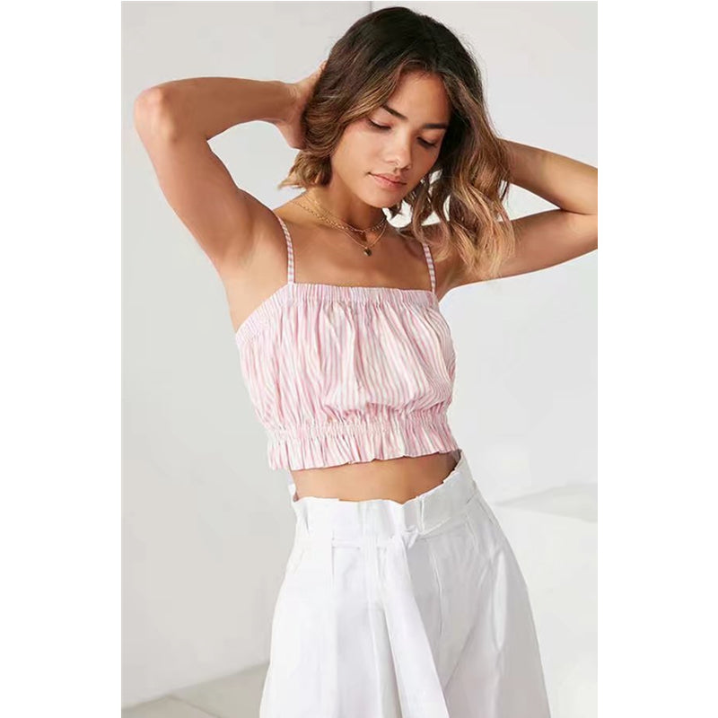 Ruched Frill Fringed Crop Cami Top