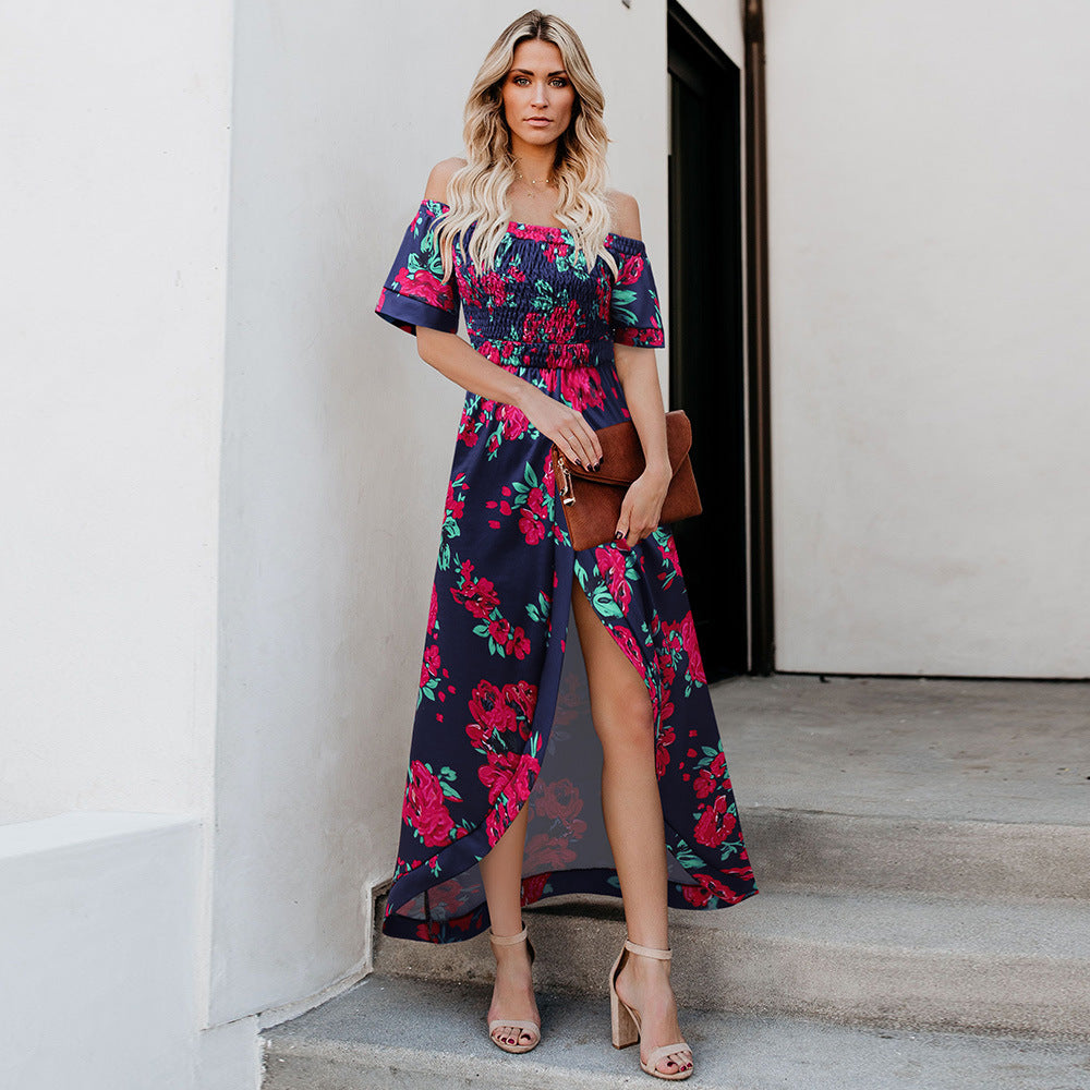 Floral Print Off Shoulder Asymmetric Hem Maxi Dress