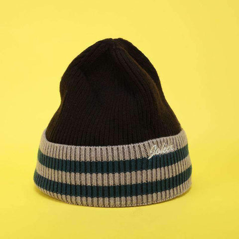 Embroidery Letter Striped Beanie Hat gallery 2