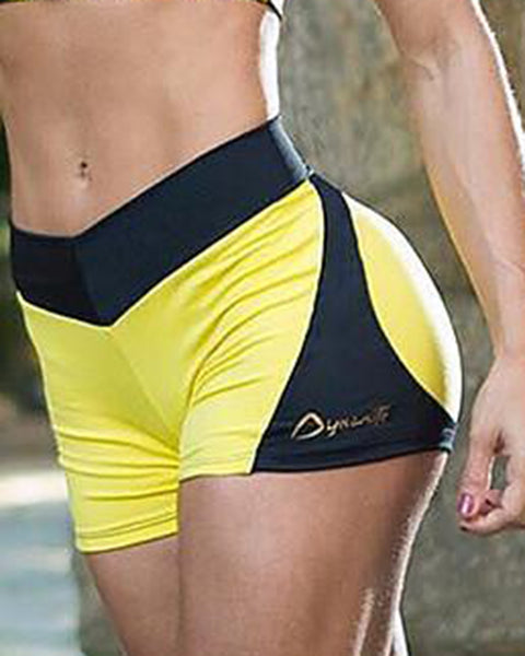 Colorblock & Letter Print Butt Lifting Sports Shorts gallery 4