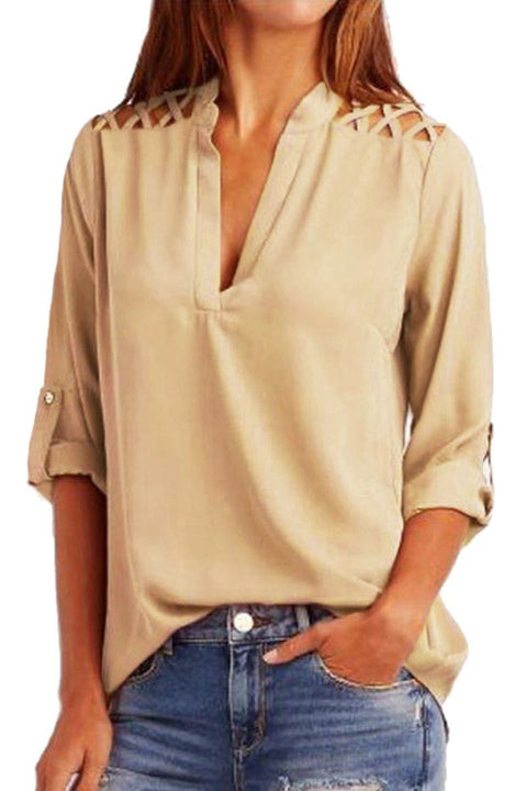Apricot Crisscross Shoulder Detail Roll Tab Blouse gallery 1