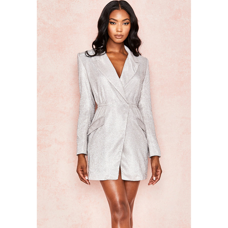 Glitter Texture Silver Fitted Blazer Dress