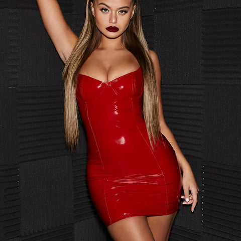 Sexy U-neck Red PU Leather Bodycon Mini Dress gallery 3
