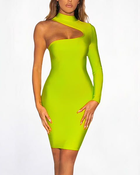 Bandage One Shoulder Cut Out Midi Dress