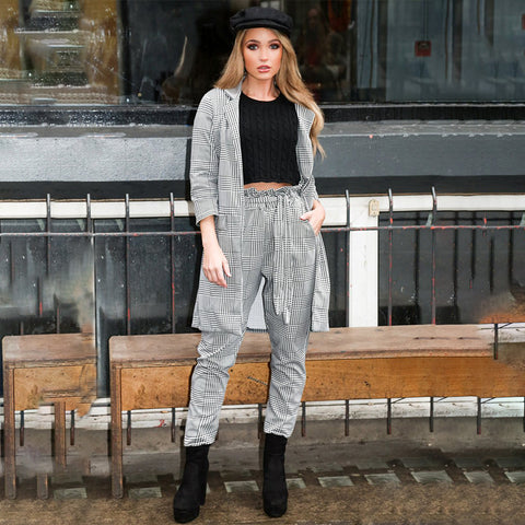 Pleated Belt Front Plaid Design High Rise Pants gallery 8