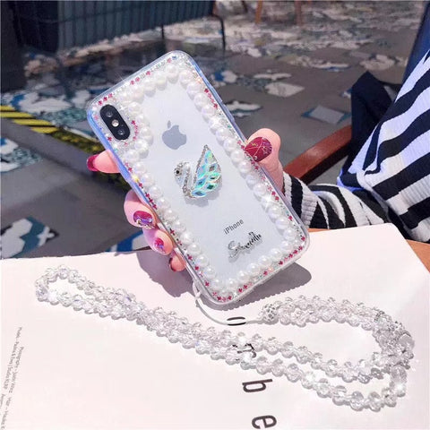 Clear Transparent Pearl Trim Deco Phone Case for Samsung with Hand Strap gallery 6