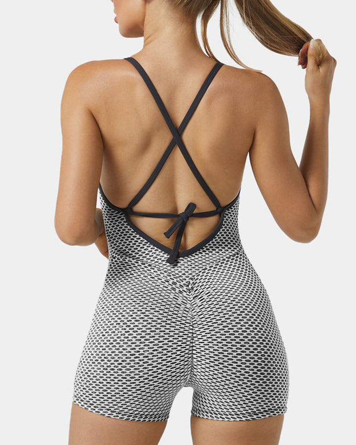 Textured Criss Cross Tie Back Ruched Cami Sports Romper gallery 4
