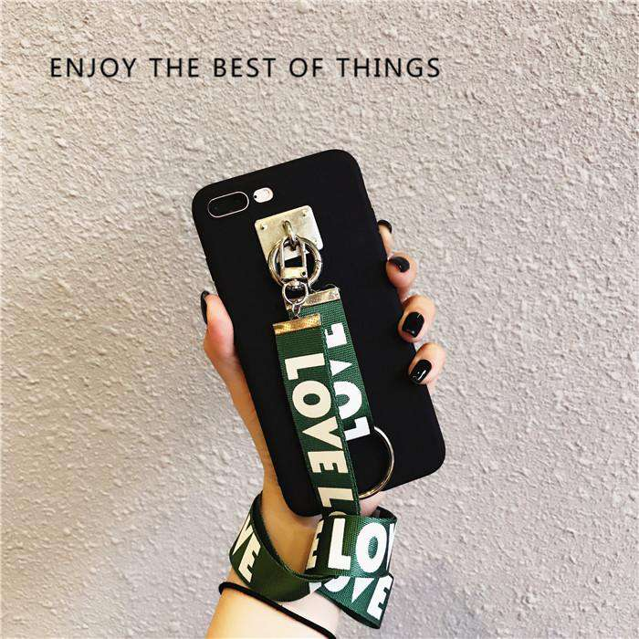 Solid Color iPhone Case with Letter Printed Strap