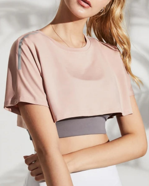 Solid Striped Crop Sports Tee