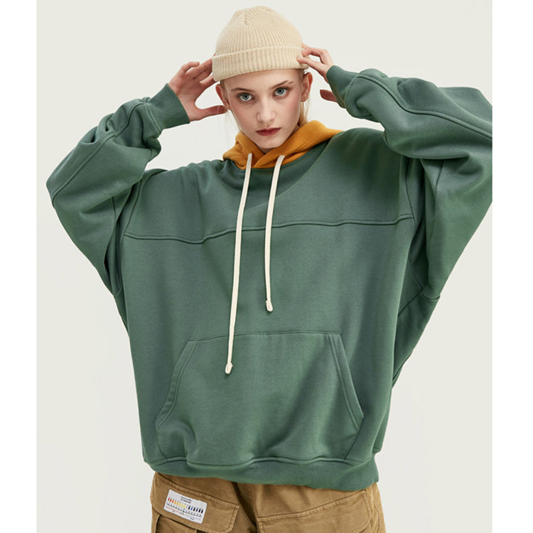 Oversized Solid Color Pocket Front Hoodie