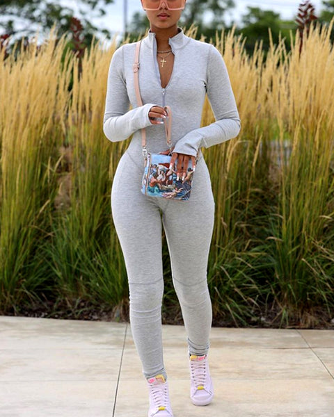 Solid Zip Up Thumb Hole Jumpsuit