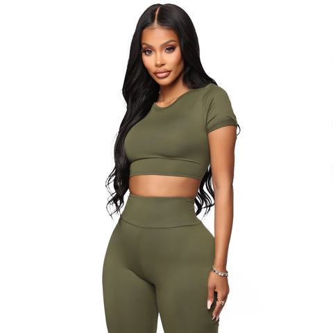 Round Neck Lace-Up Back High Waist Cropped Top & Short Set gallery 5