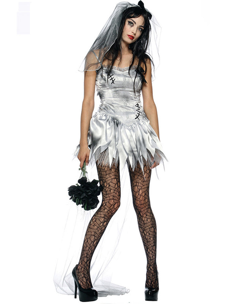 Ruffle Hem Ghost Bride Costume Dress
