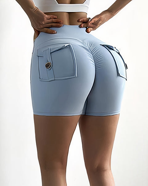 Flap Pocket Ruched Back Sports Shorts gallery 9