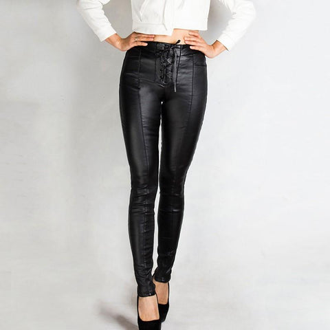 Faux Leather Lace Up Front Skinny Leggings