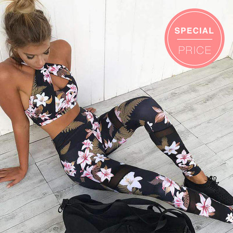Leisure Breathable Floral Printed Cami Top & Sports Pants Set