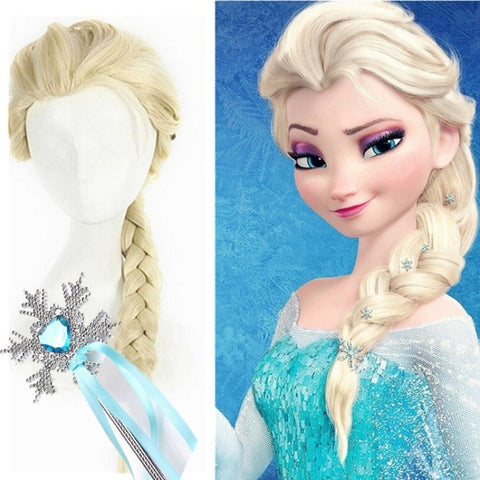Princess Elsa Cosplay Faux Hair Braid with Flower Decoration gallery 1