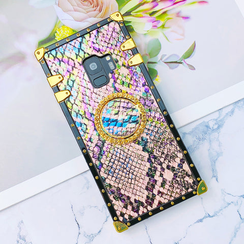 Snakeskin Pattern Phone Case for Samsung with Ring Phone Holder and Pom-pom