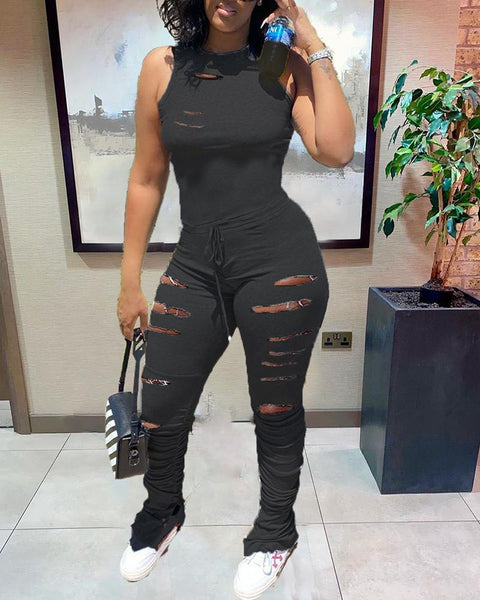 Hollow Out Drawstring Waist Stacked Jumpsuit gallery 2