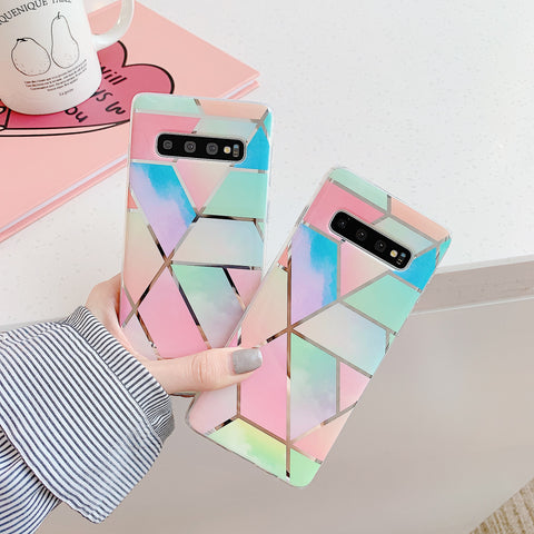 Color Block Electroplate Rhombus Marble Phone Case for Samsung gallery 3