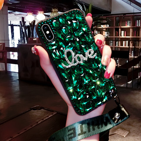 Letter Rhinestone Phone Case for Samsung with Wrist Strap gallery 4