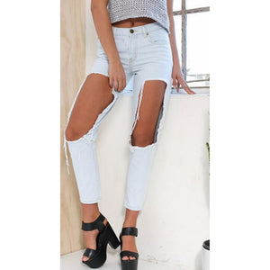 Big Hole Ripped Beggar Cropped Jeans