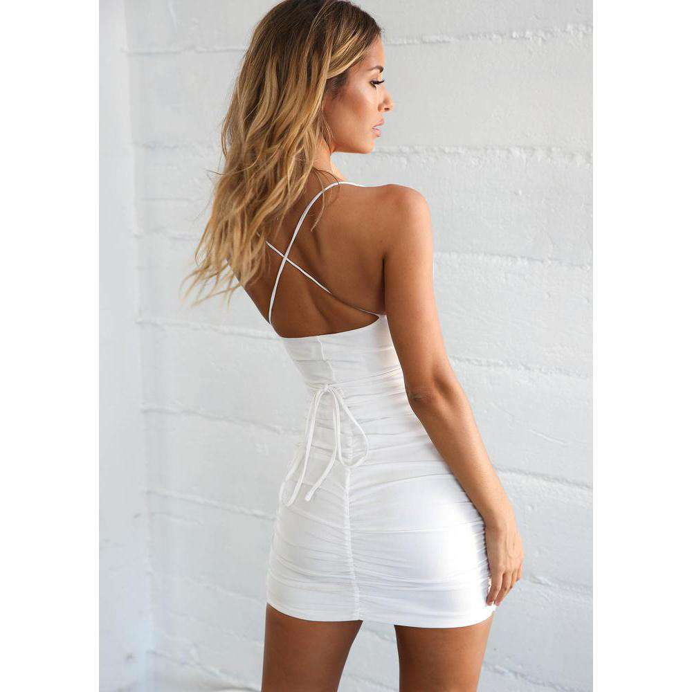 Sexy Deep V Lace Cross Party Night Short Dress