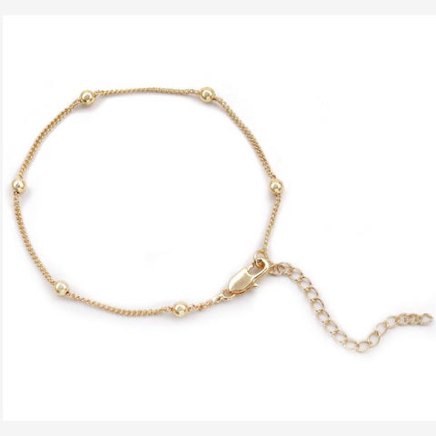 Gold Bead Strand Link Necklace
