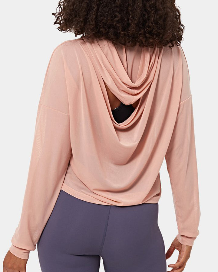 Mesh Sheer Hollow Out Sports Hoodie gallery 1