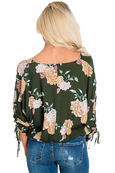 Vanilla Floral Button up Top in Green gallery 2