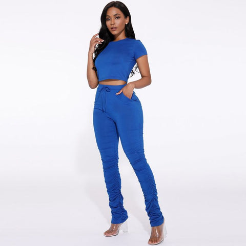 Round Neck Ruched Side Drawstring Waist Top & Pants Set gallery 18