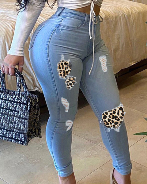 Plus Leopard Pattern Patched Ripped Jeans