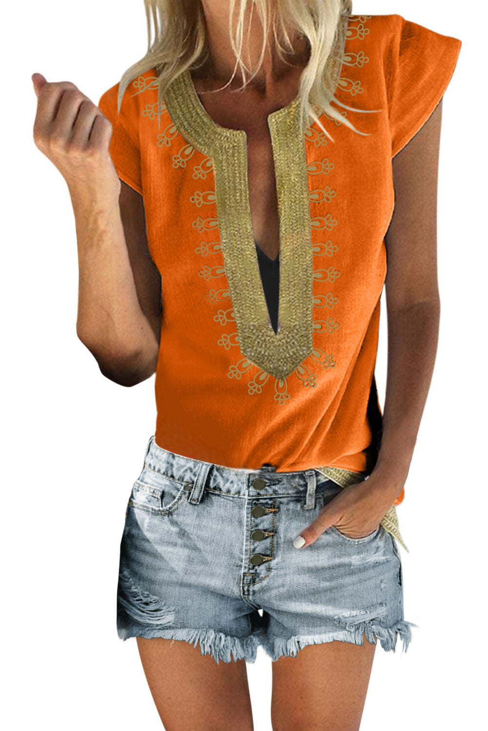 Orange Short Sleeve Printed Neck Shift Blouse