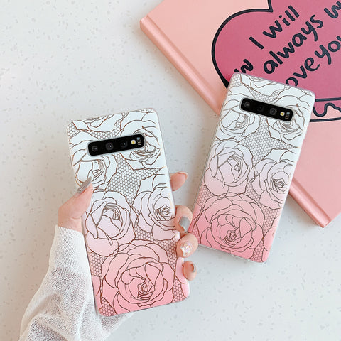 Floral Pattern Marble Phone Case for Samsung gallery 1