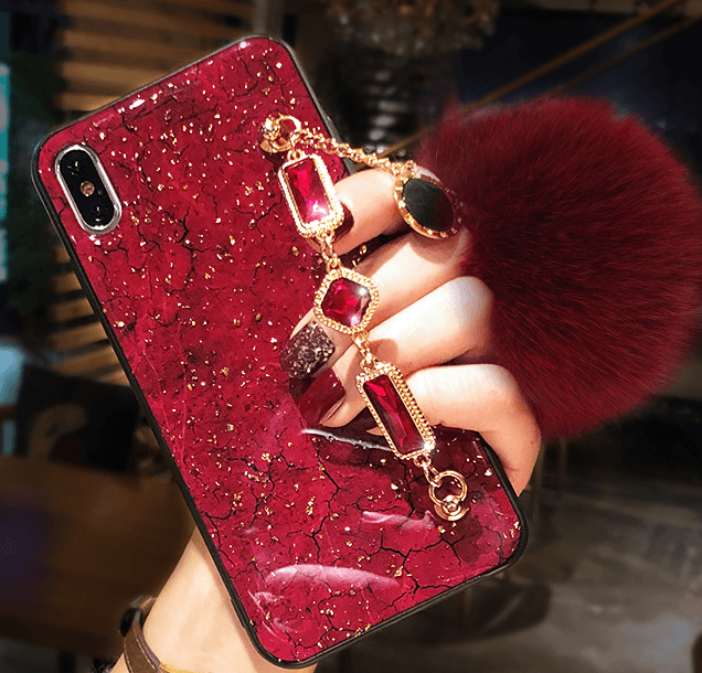 Crack Style Phone Case With Fur Plush Mirror For Samsung