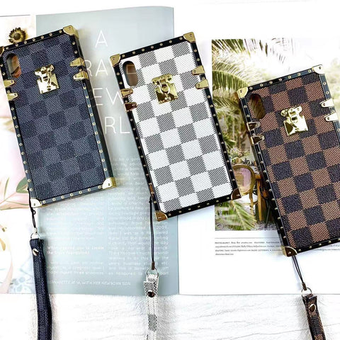 Plaid Leather Rivet Edge Phone Case for Samsung with Hand Strap gallery 3