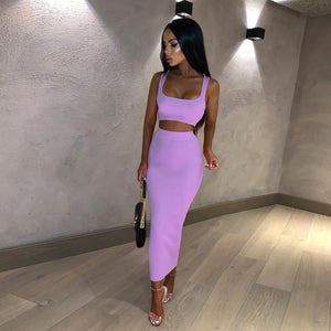 10 Colors Scoop Neck Cropped Top & Skirt Set