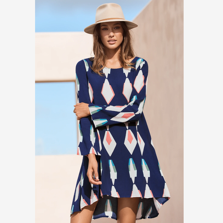 Abstract Print Asymmetric Hem Mini Dress