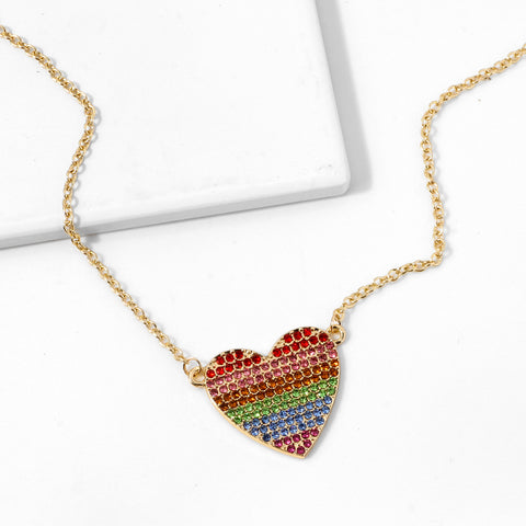 Heart Shape Colored Diamante Necklace