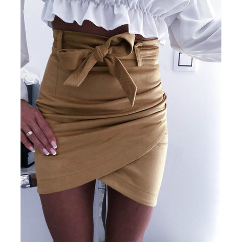 Solid Self Belted Wrap Mini Skirt