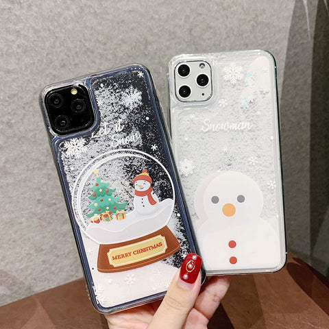 Cute Snowman Quicksand Design iPhone Case