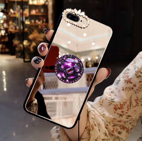 Mirror Rhinestone Side Phone Case for Samsung with Phone Holder gallery 3