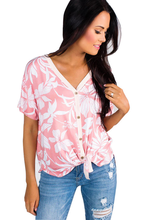 Pink White Floral Button Front Short Sleeve Top gallery 1