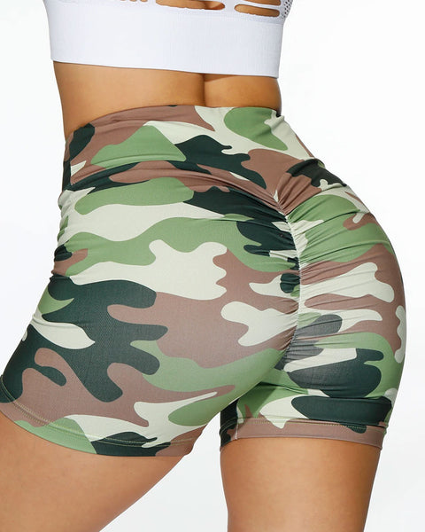 Camo Print Ruched Wide Waistband Sports Shorts