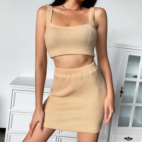 Ribbed Knit Thick Strap Scoop Neck High Waist Top & Skirt Set