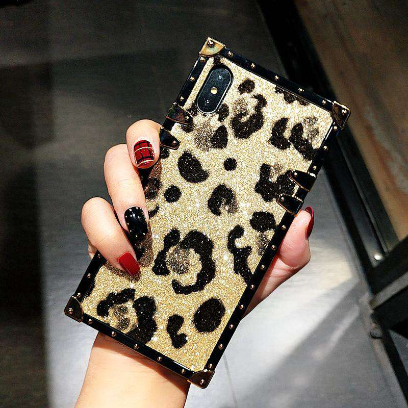 Leopard Pattern Glittering Luxury Case For iPhone